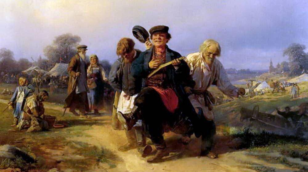 Алексей  Корзухин. Возвращение отца семейства с ярмарки (фрагмент). 1868