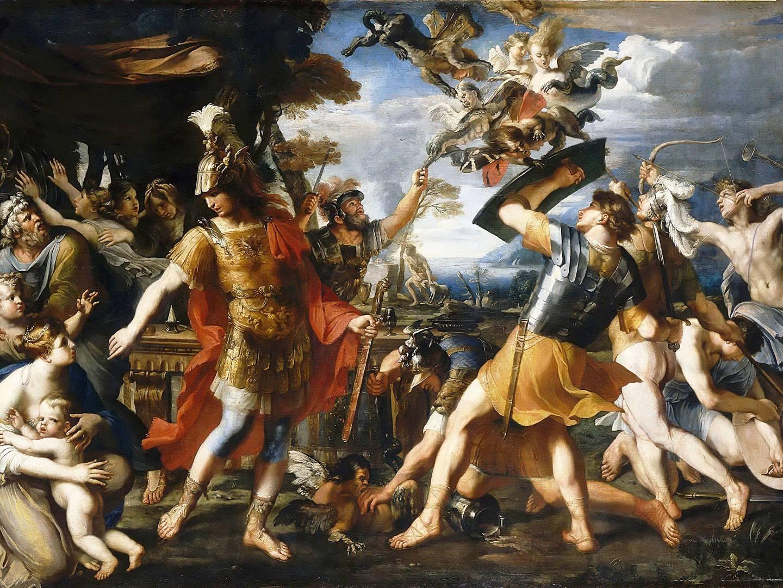 Франсуа Перье. Бой Энея с гарпиями. 1646–1647