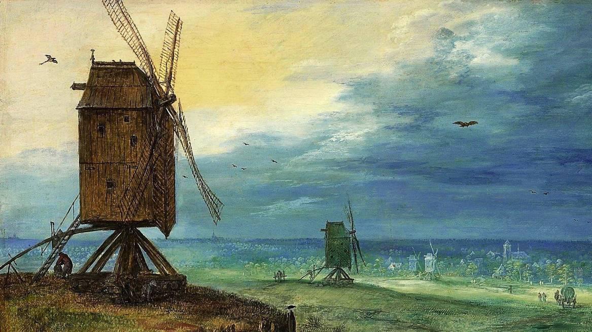 П. Брейгель. Пейзаж с мельницами. 1605