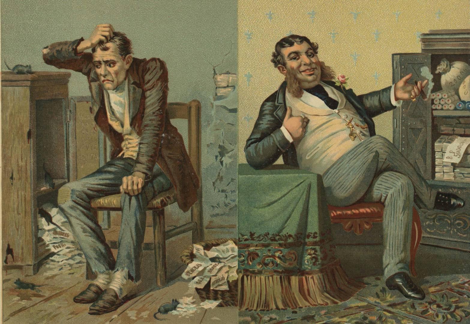 Богач и бедняк. Плакат. 1902