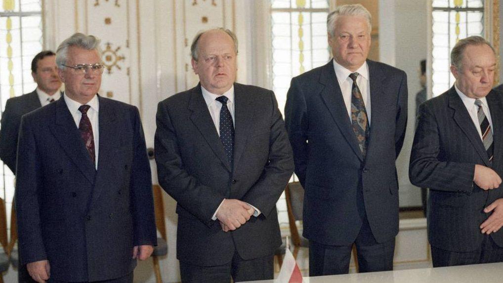 Леонид Кравчук, Станислав Шушкевич, Борис Ельцин