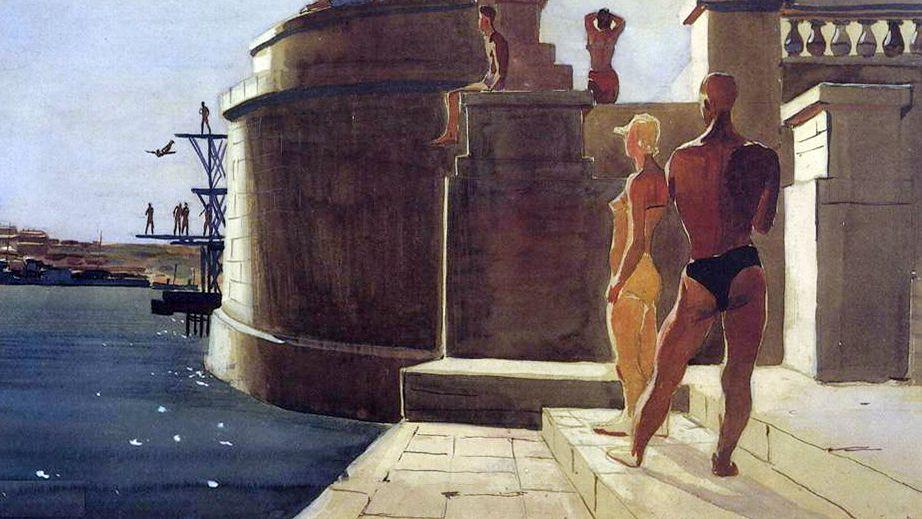 Александр Дейнека. Севастополь. Водная станция «Динамо».(фрагмент) 1934