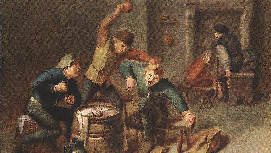 Драка крестьян. 1630-е. Фрагмент.