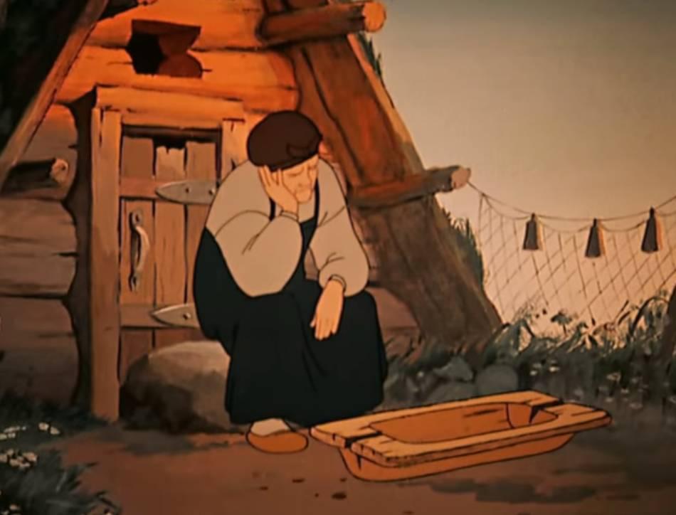 У разбитого корыта. Цитата из м∕ф «Сказка о рыбаке и рыбке»