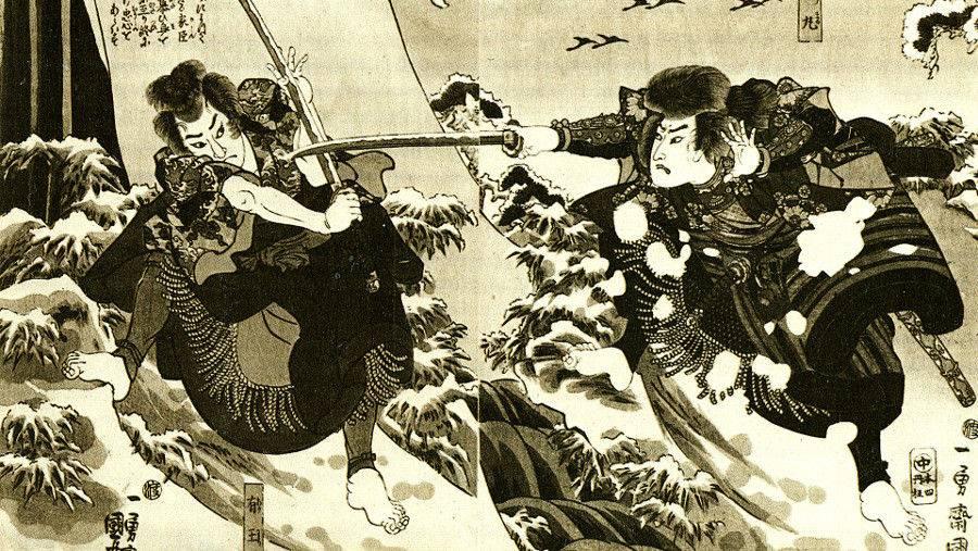 Артисты кабуки изображают бой самураев(фрагмент). XIX век