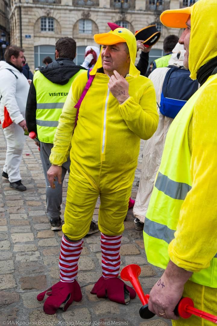 Данные костюмы обыгрывают слова «желтый» и «яичный желток» (во французском языке слово «jaune» имеет данные значения), а также отношение правительства к протестующим