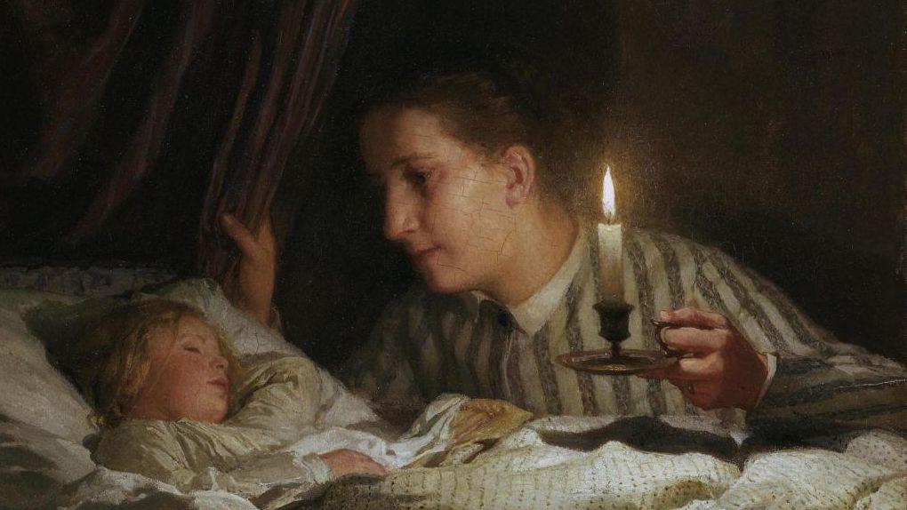 Альберт Анкер. Молодая мать рассматривает спящего ребенка при свечах (фрагмент). 1875