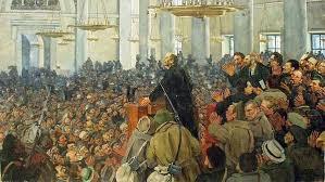 Константин Юон. Первое появление В.И.Ленина на засед. Петросовета в Смольном 25 окт. 1917 г. 1927