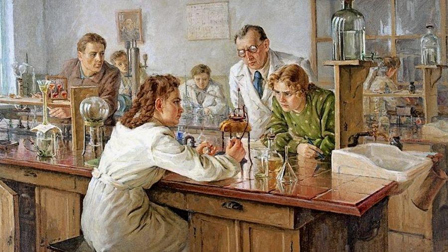 Николай Ульянов. В лаборатории. 1951