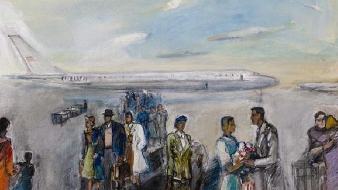 Александр Абрамович Лабас. В аэропорту. 1963