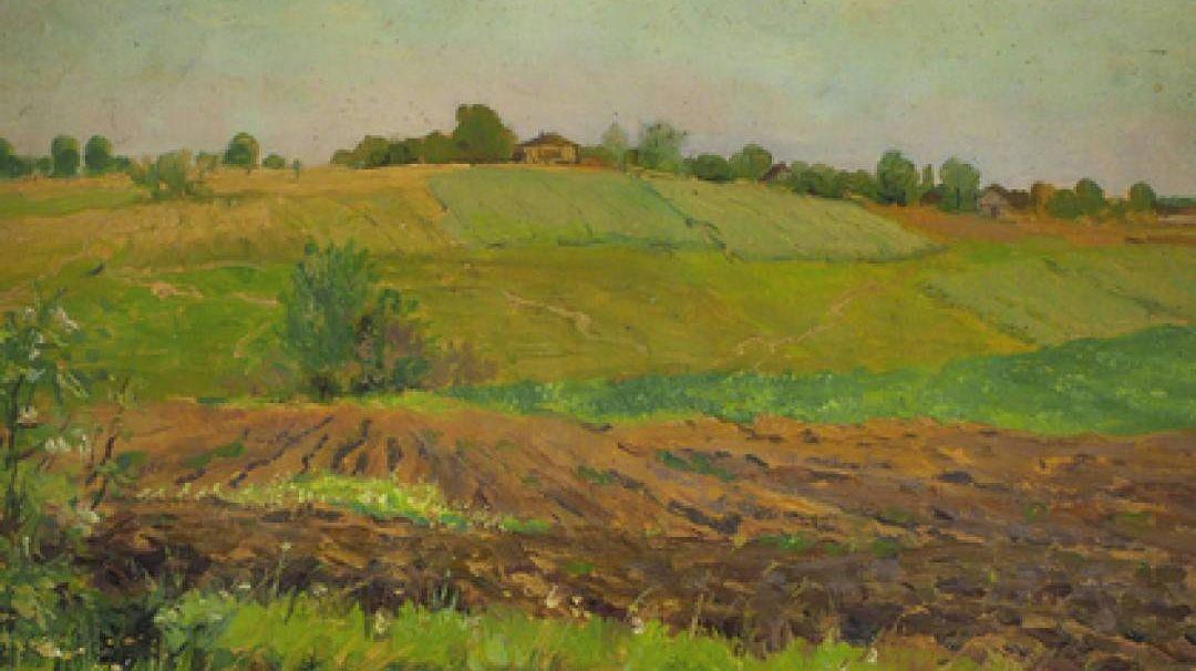 Картина И. Левитана «Летний пейзаж. Пашня» (фрагмент)