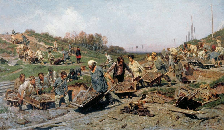 Условия труда (К.А. Савицкий. Ремонтные работы на железной дороге. 1874)