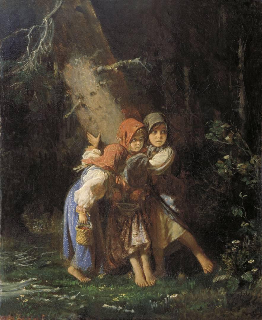 Алексей Корзухин. Крестьянские девочки в лесу. 1878