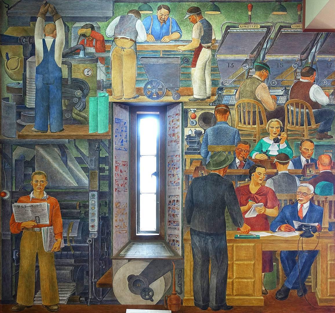 Сюзанна Шойер. Сбор новостей. Фреска в Койт-Тауэр, Сан-Франциско. 1930-е