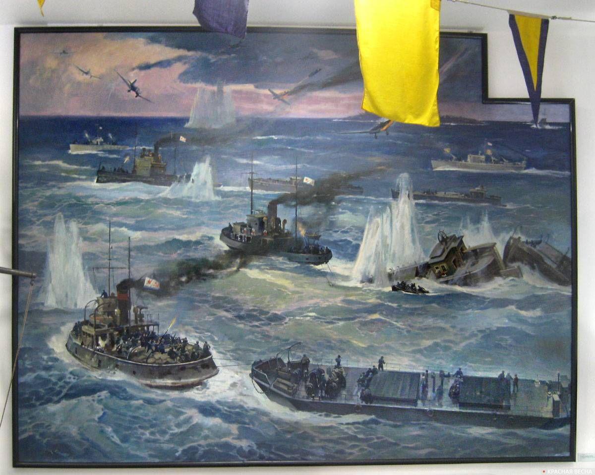 Картина из экспозиции. В.А.Печатин. Отражение нападения кораблей противника на остров Сухо. 1942 г. (2015)