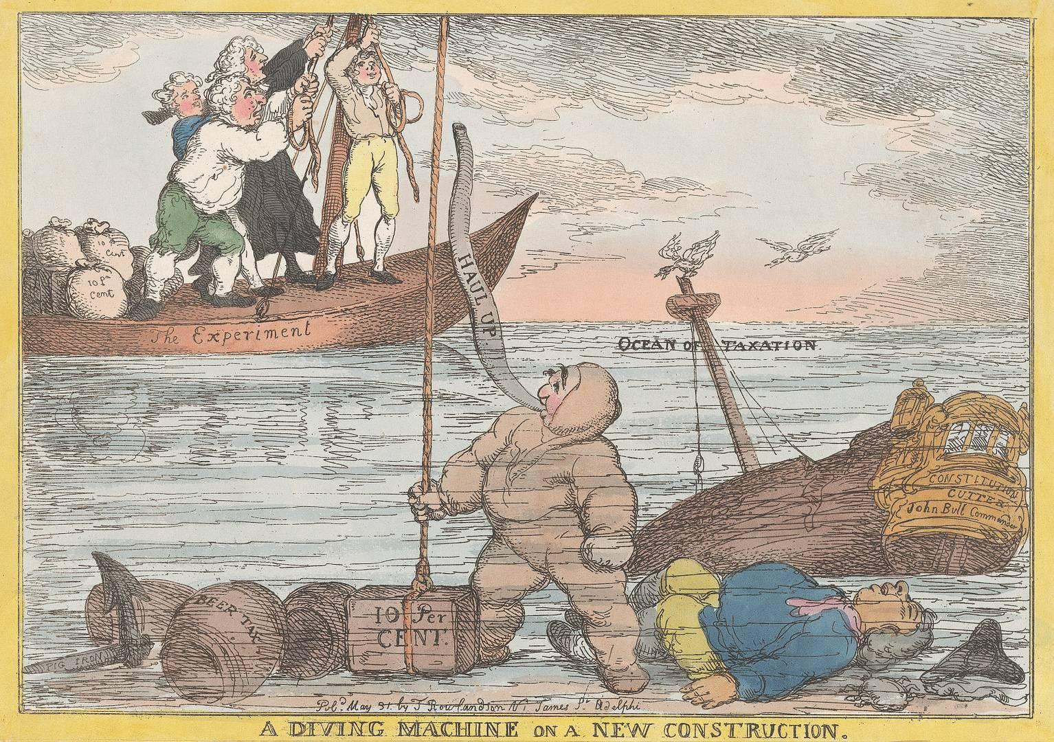 Томас Роулендсон. Аппарат для погружения за новой работой. 31 мая 1806 г.