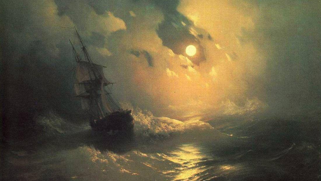И.К. Айвазовский. Буря на море ночью (фрагмент). 1849