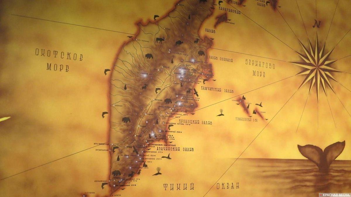 Карта полуострова Камчатка.