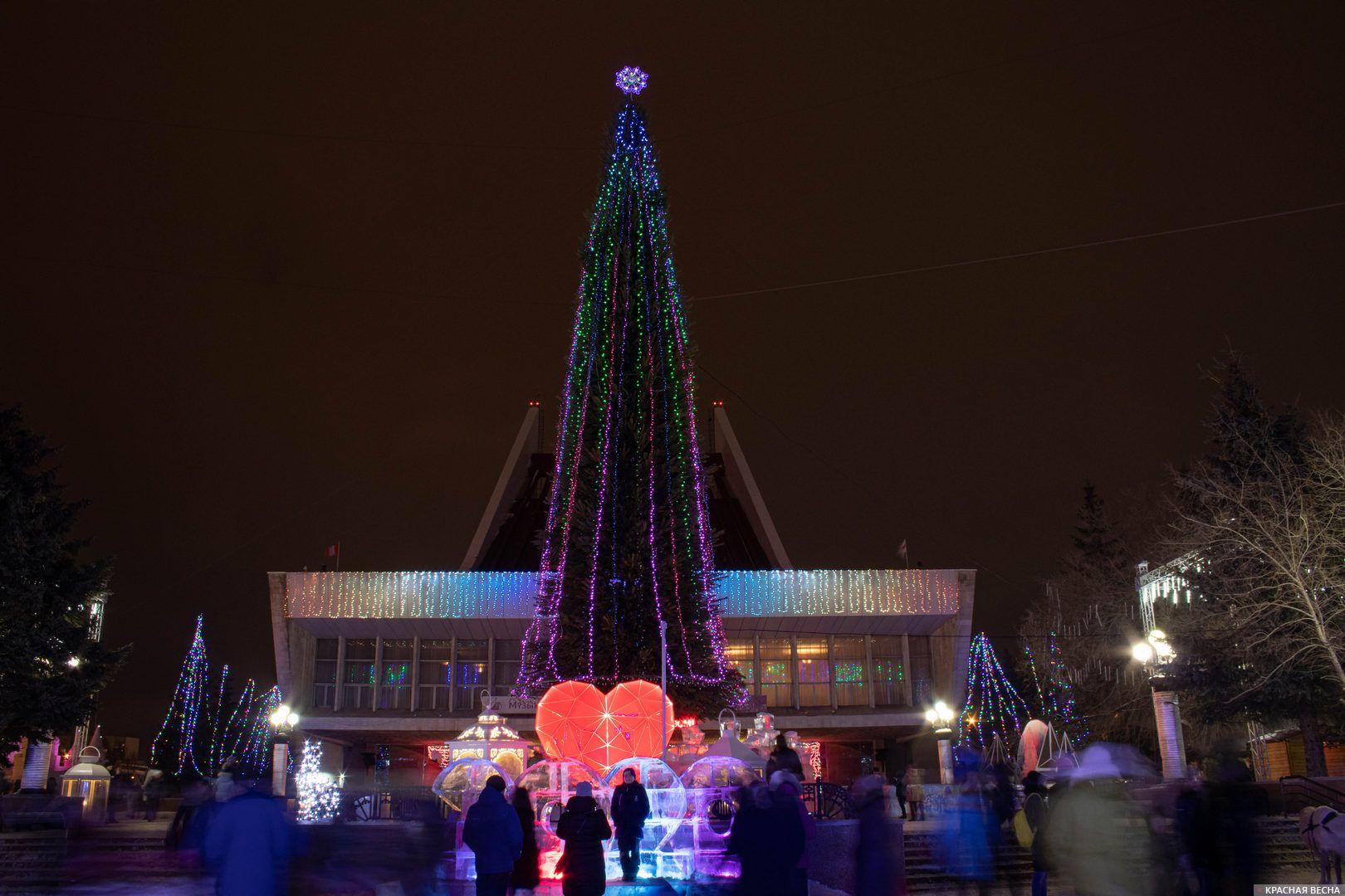 Главная городская елка с подсветкой