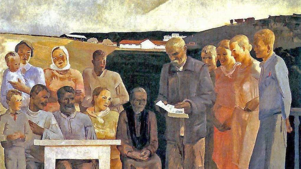Александр Дейнека. Беседа колхозной бригады. 1934