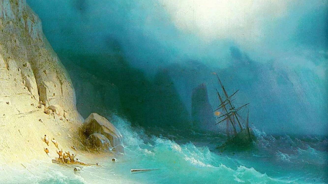 Айвазовский Иван Константинович.Кораблекрушение у скал. 1870