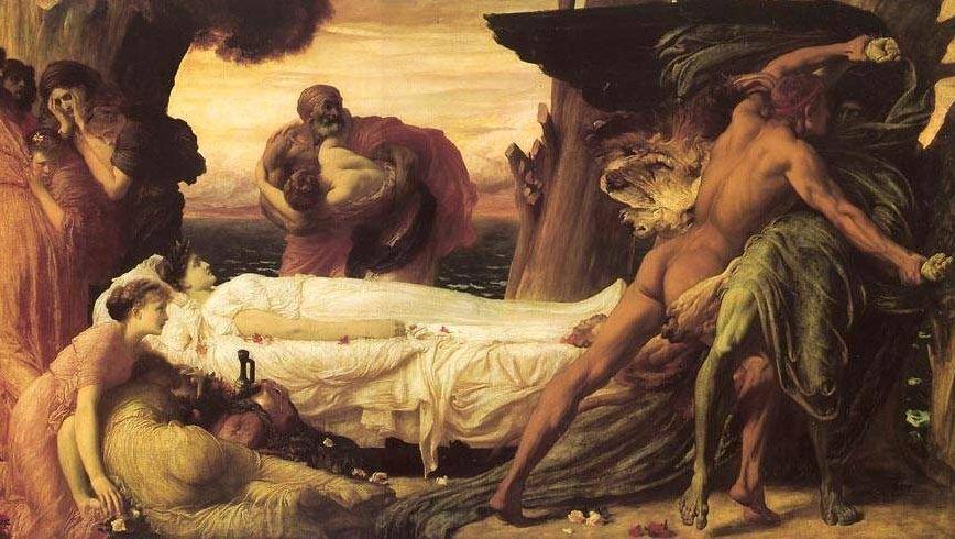 Фредерик Лейтон. Борьба Геракла с богом смерти Танатом, прибывшим за телом Алкестиды.1871