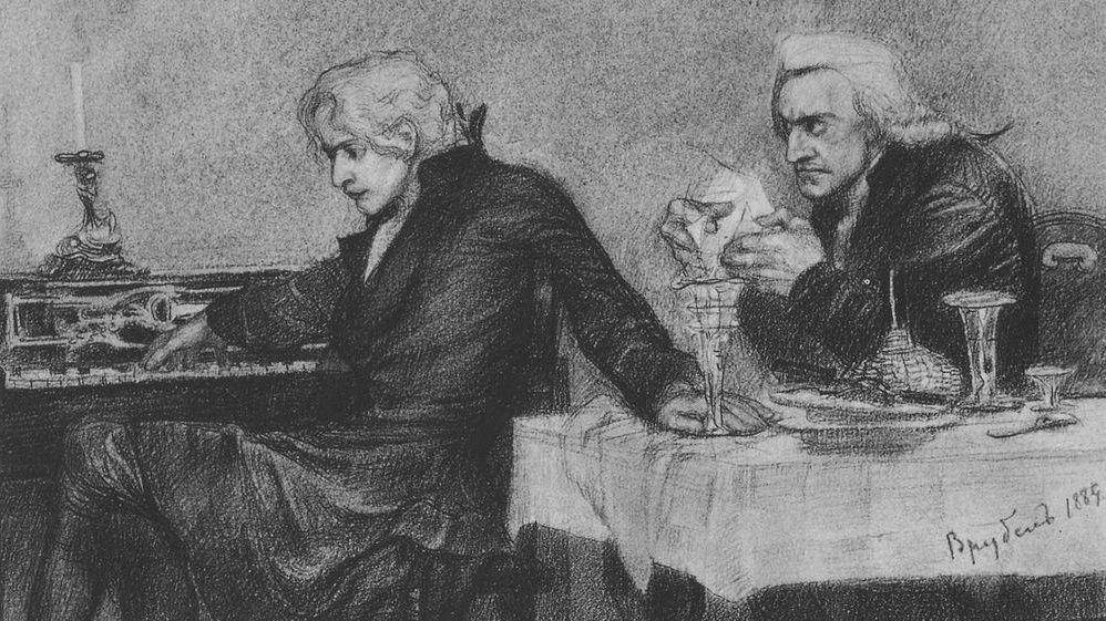 Михаил Врубель. Сальери наливает яд в бокал Моцарта. 1884