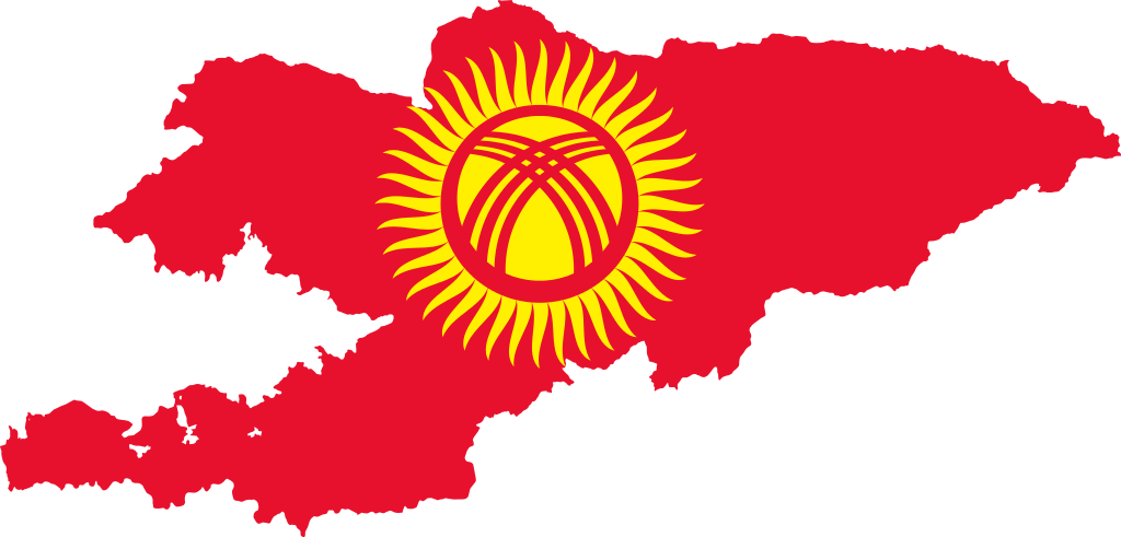 Карта Киргизии с флагом [wikimedia.org]