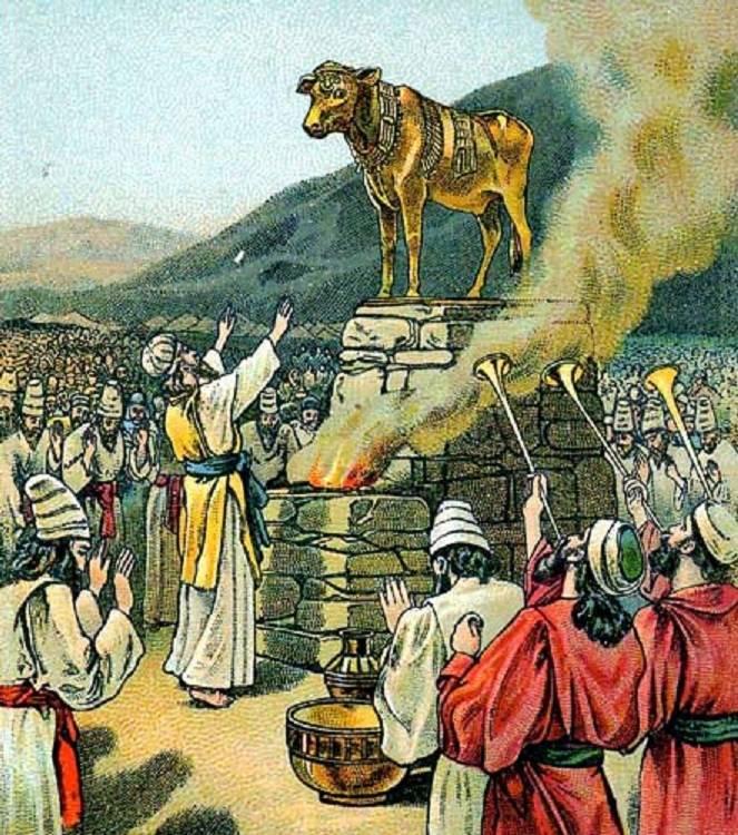 Иллюстрация из библейской карты компании «Провидение». Поклонение золотому тельцу. 1901