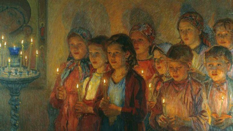 Николай Богданов-Бельский. В церкви. 1939