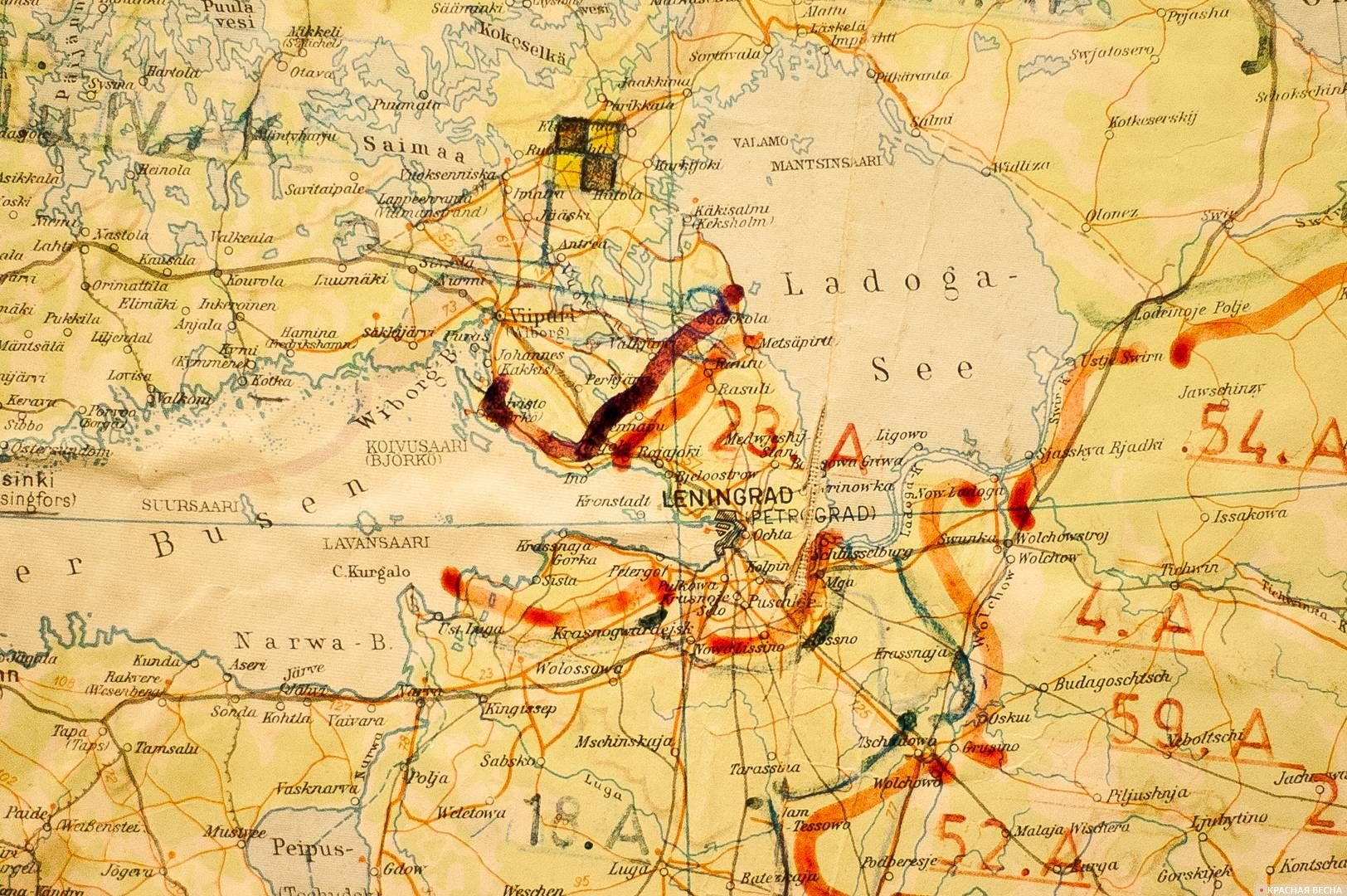Ленинград на немецкой карте