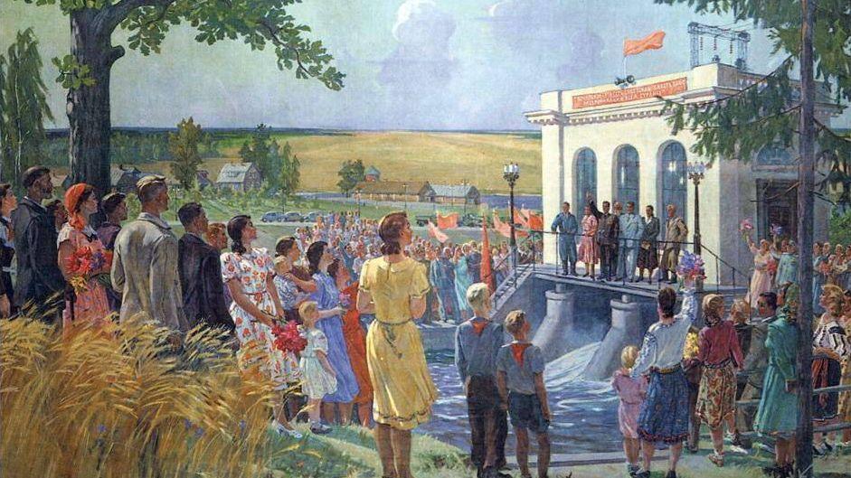 Александр Дейнека. На открытии колхозной электростанции. Фрагмент. 1952