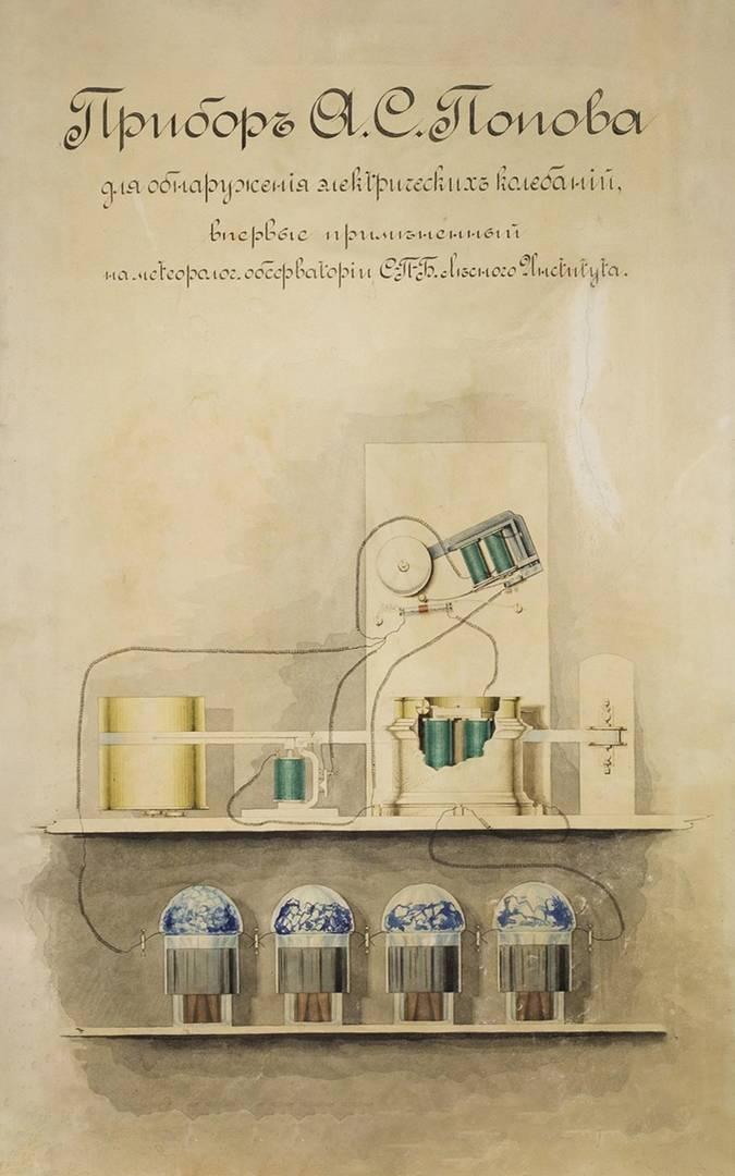 Прибор Попова А. С. для обнаружения электрических колебаний, впервые примененный на метеорологической обсерватории Санкт-Петербургского Лесного института