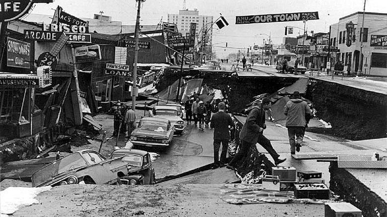 Последствия землетрясения 1964 года. Анкоридж. Аляска. США.