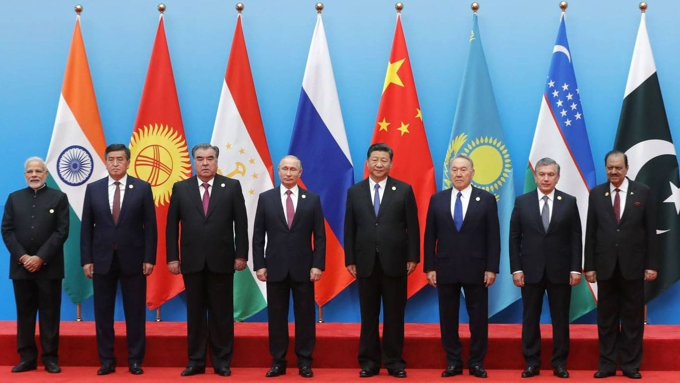 Участники саммита ШОС в Циндао, КНР. Июнь 2018 года