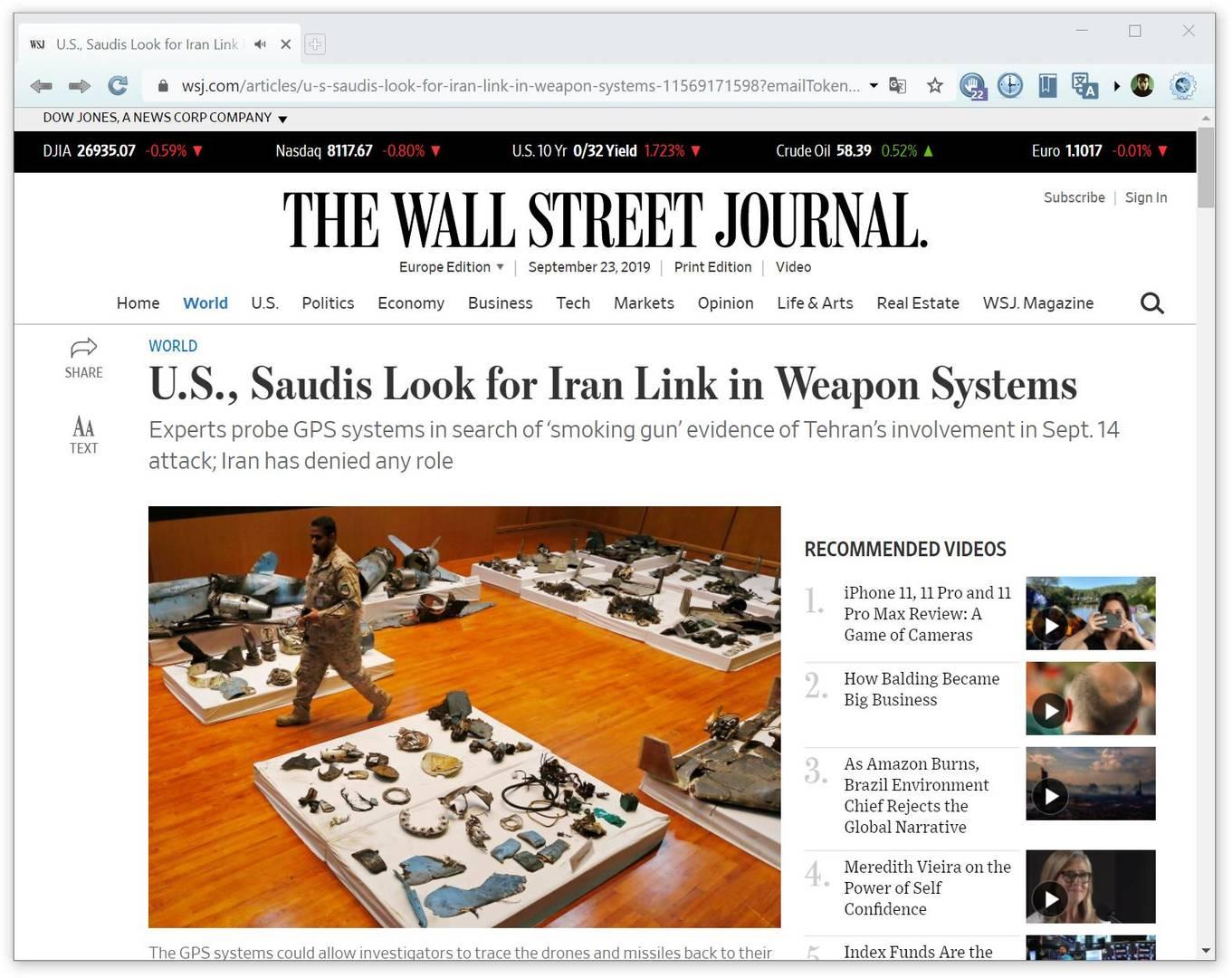 «Специалисты-оружейники со всего мира, включая США, Францию и ООН, осматривают системы GPS, обнаруженные после ракетного и беспилотного удара с целью выявить места их запуска»