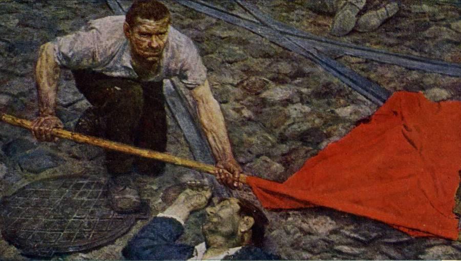 Гелий Коржев. Поднимающий знамя. 1960