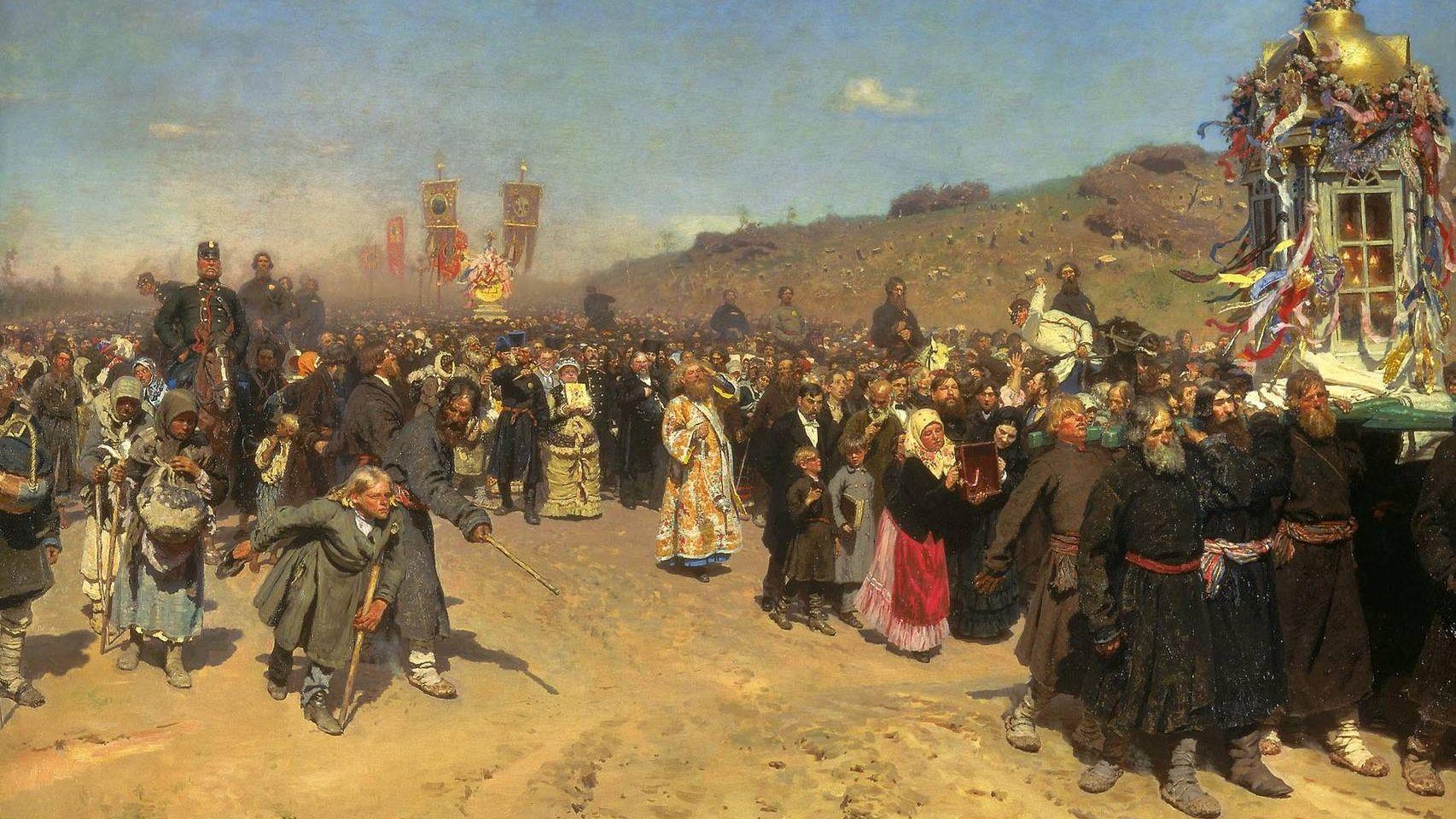 Илья Репин. Крестный ход в Курской губернии (фрагмент). 1883.