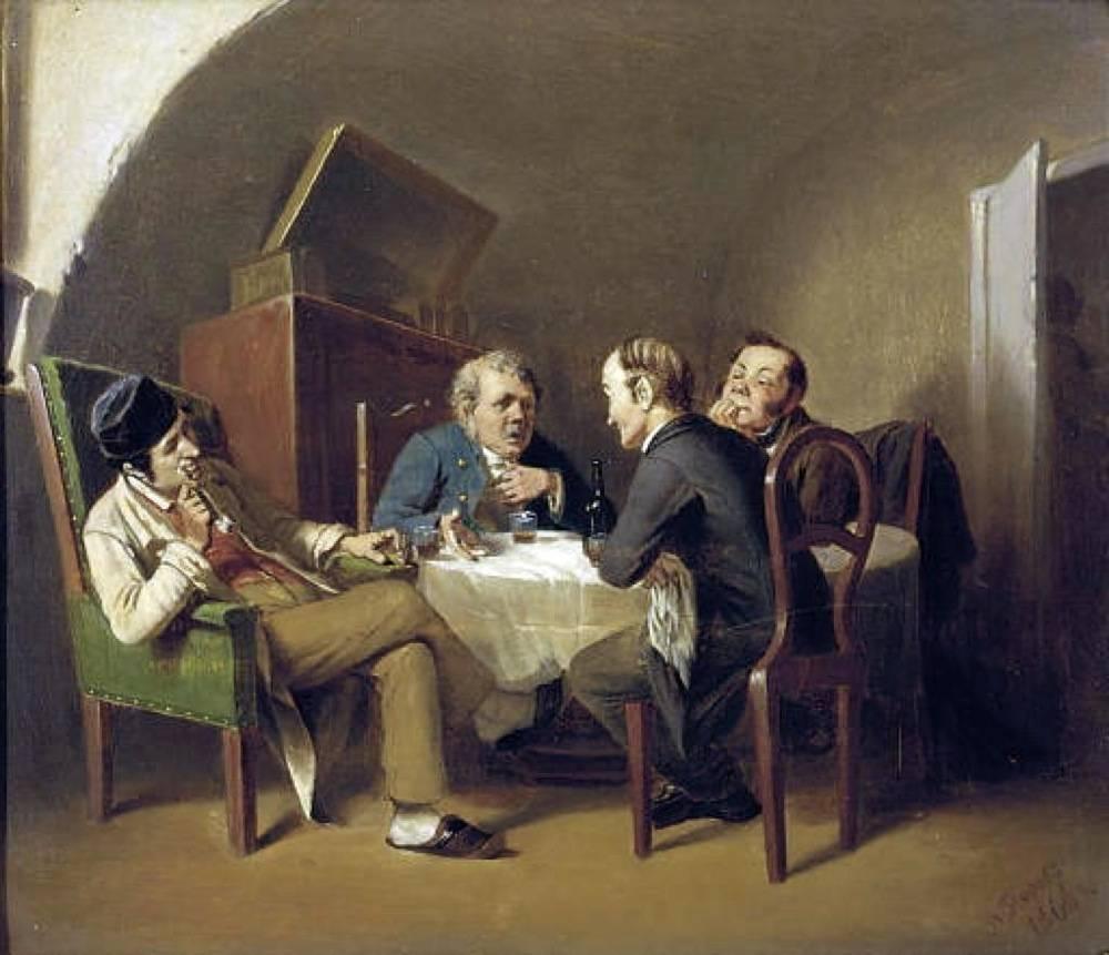 Василий Перов. Разговор за круглым столом. 1866