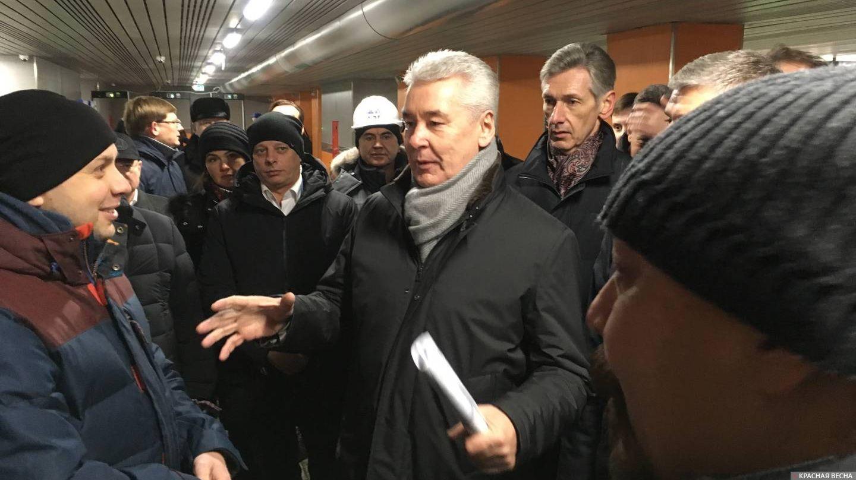 Сергей Собянин на открытии железнодорожной платформы