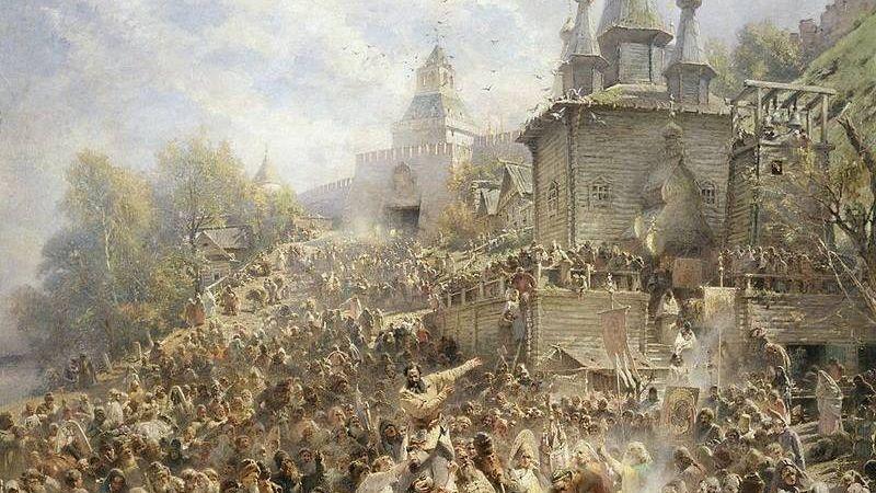 Константин Маковский. Минин на площади Нижнего Новгорода, возле церкви Иоанна Предтечи, призывающий народ к пожертвованиям (фрагмент). 1896