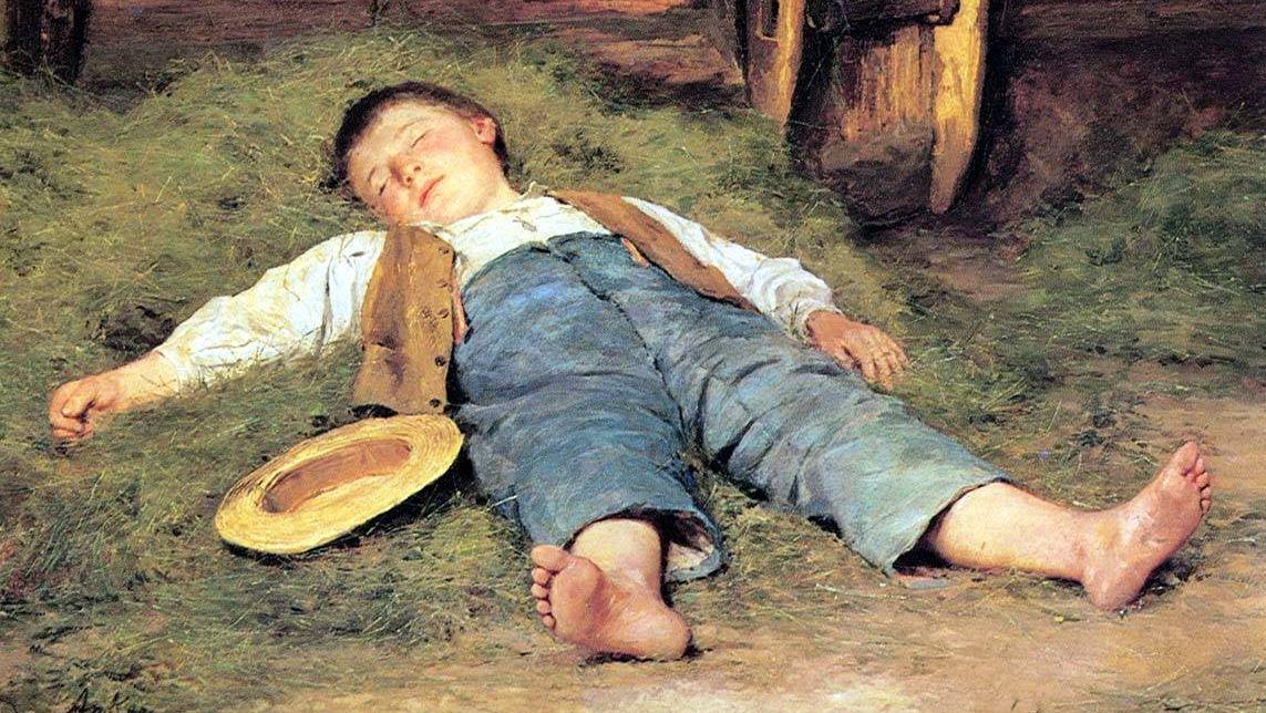 Альберт Анкер. Спящий мальчик в сене. 1897