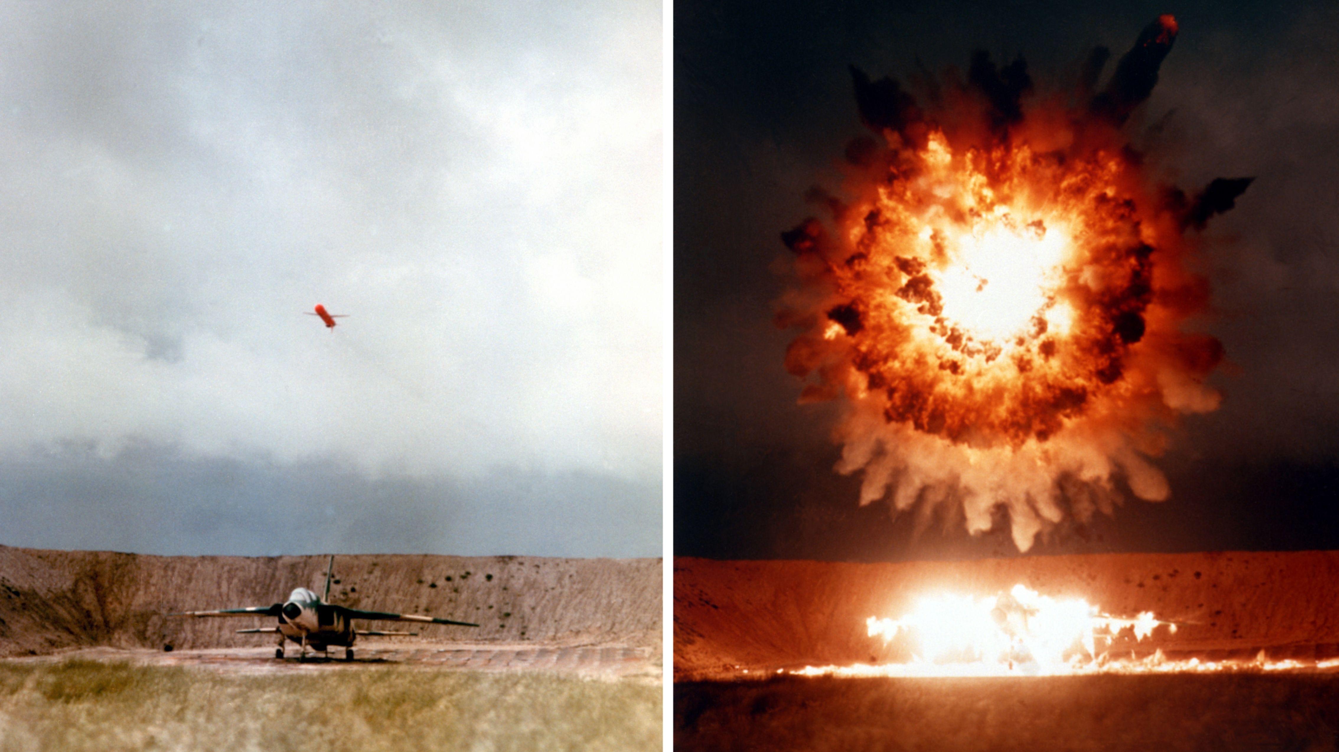 Американская крылатая ракета UGM-109 Tomahawk, выпущенная с подводной лодки, поражает учебную цель на удалении в 650 км на полигоне острова Сан Клименто в Калифорнии.