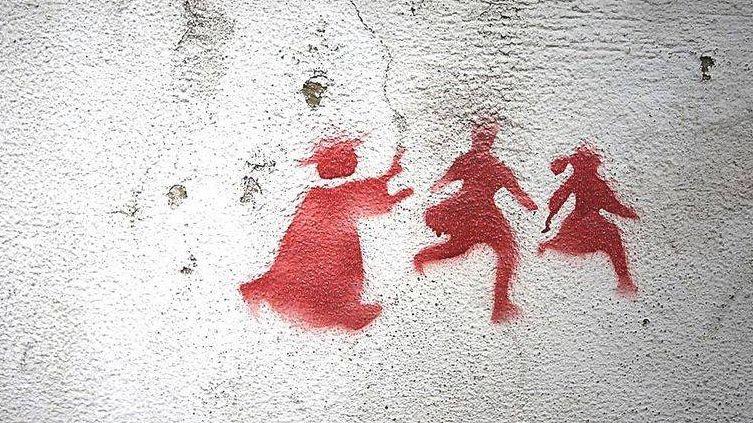 Кардинал и дети - граффити
