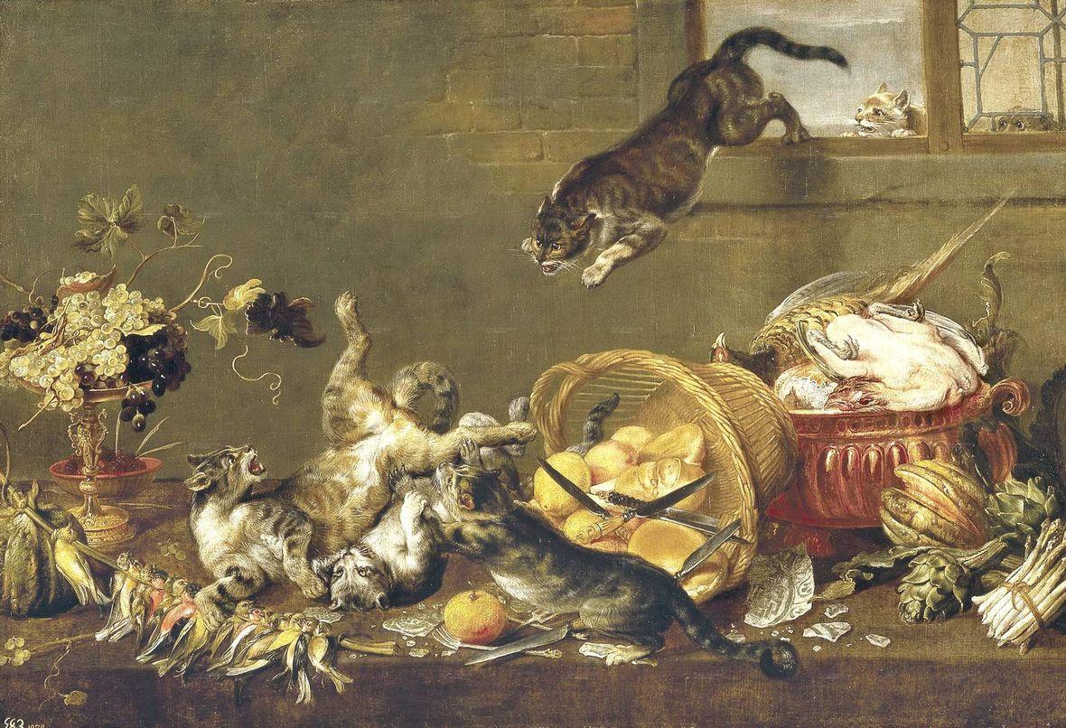 Пауль де Вос. Кошачья драка в кладовой.