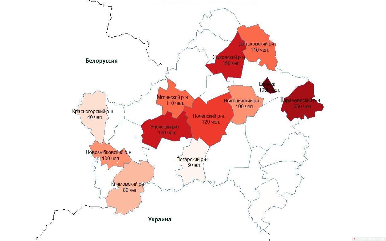 Карта митинговой активности в Брянской области 28 июля - 4 августа 2018 года