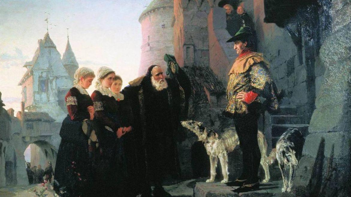 Василий Поленов. Право господина. Фрагмент. 1874