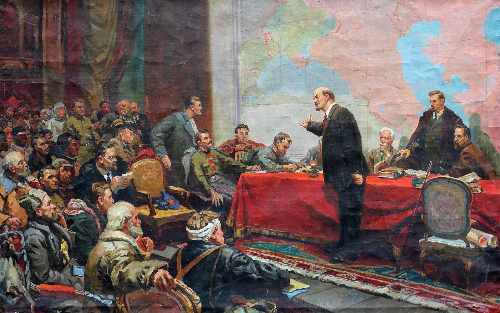 Л. А. Шматько. В. И. Ленин у карты ГОЭЛРО. 1957