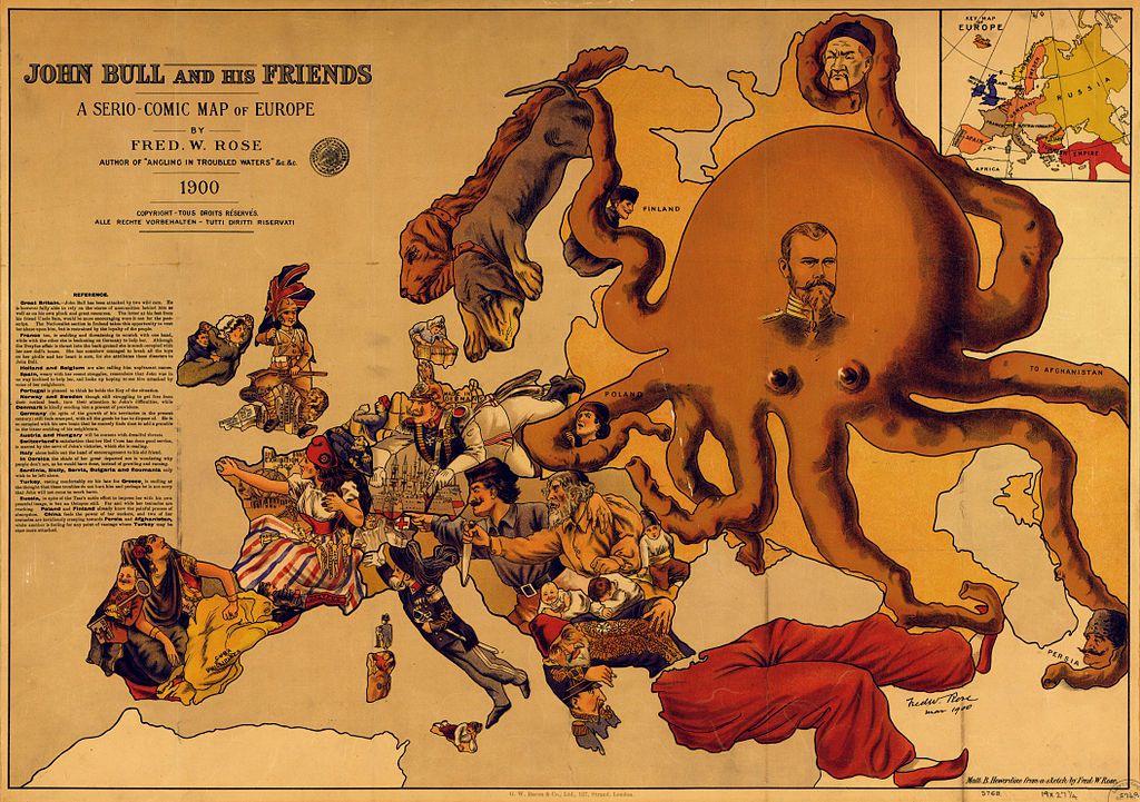 Фредерик Роуз. «Джон Булль и его друзья» — Карикатурная карта Европы. 1900