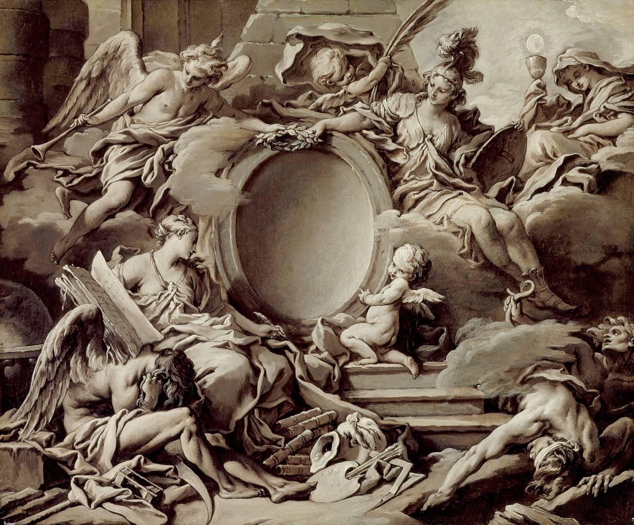 Франсуа Буше. Аллегория мудрости, молвы, истории и веры побеждающих невежество и время. Около 1727